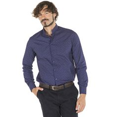 6de40735fc 2605 Camisa Fiore chico con manga larga y estampado gaviota azul marino   uniformes  hostelería