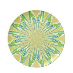 Yellow Green Blue Flower Plate
