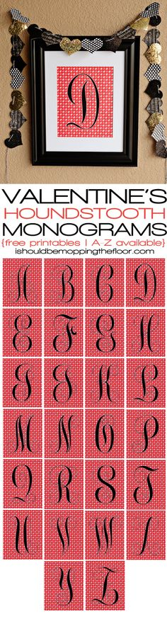 Free Printable Monograms | Valentine's Colors & Houndstooth Pattern | Letters A-Z Available