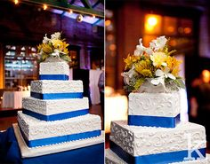 White Square Wedding Cake, Blue Ribbon, Yellow flowers. Jersey City NJ Wedding photography