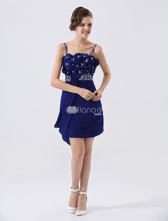 Deep Blue Spaghetti Sheath Beading Chiffon Homecoming Dress. See More Colorful Dresses at http://www.ourgreatshop.com/Colorful-Dresses-C983.aspx