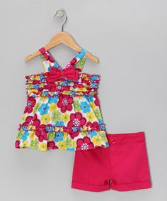 Take a look at this Hot Pink Flower Top & Shorts - Toddler & Girls by Kids Headquarters on #zulily today!