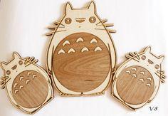 Totoro Wall Decoration Set of Three by Venustudio on Etsy