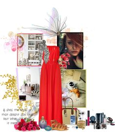 """""""Lady in red ...nd d occasional diamond..."""" by lindagama on Polyvore"""