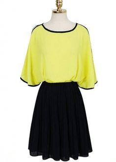 Yellow and Black Round Collar Fashion Dress