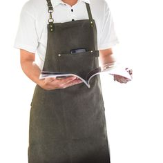 Long Green Canvas Apron Barista Bartender Baker Chef Catering Uniform Florist Carpenter Tattoo Artist Gardener Work Wear K91