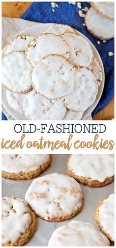 Cookie Recipes 84253 Old Fashioned Iced Oatmeal Cookies are perfectly textured with a combination of whole and blended oats, deliciously flavored with spices, and topped with a sweet icing glaze. Köstliche Desserts, Delicious Desserts, Dessert Recipes, Yummy Food, Recipes For Sweets, Recipes Dinner, Tasty, Easy Sweets, Quick Dessert