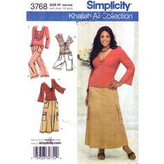 Knit Top Skirt Pants Shorts Pattern Simplicity 3768 Khaliah Ali Womens Plus Size 18 to 24 UNCUT - product images  of