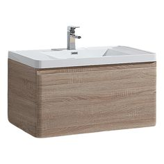 Chapman Wall Mounted Modern Bathroom Vanity (36'', White Oak)