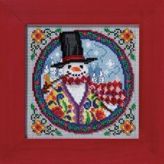 """JS149103 - Eastern Snowman by Jim Shore (2009) - Mill Hill - Jim Shore Kits - Winter Series Kit Includes: Beads, 14ct perforated paper, needles, floss, chart and instructions.  Mill Hill frame GBFRM9 sold separately Size: 5"""" x 5"""""""