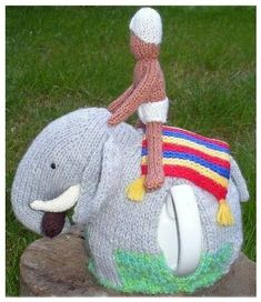 Elephant (and Rider) Tea Cosy knitting pattern Pdf $3.99 on Etsy at http://www.etsy.com/listing/101338650/elephant-tea-cosy-tea-cozy-cozy-cosies