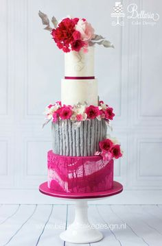 Fuchsia wedding cake