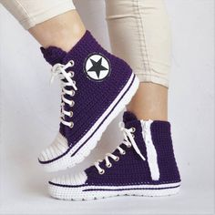 Designer Clothes, Shoes & Bags for Women Crochet Converse, Crochet Shoes, Crochet Slippers, Chuck Taylors, Converse Slippers, Converse Boots, Purple Converse, Creative Inventions, Boots