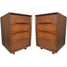 Pair of Mahogany Nightstands by Milo Baughman for Drexel | From a unique collection of antique and modern night stands at https://www.1stdibs.com/furniture/tables/night-stands/
