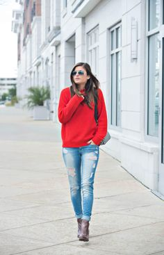 Right On Red | red knit sweater, ripped jeans, ankle boots, Gucci bag, fall fashion, fall outfit ideas, fall casual outfit, street style, fashion blogger To Be Bright