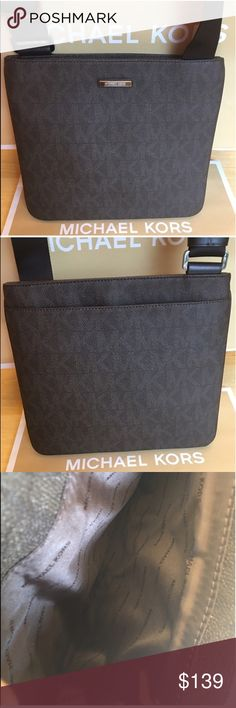 MICHAEL KORS NEW UNISEX CROSSBODY BAG AUTH MICHAEL KORS NEW WITH TAGS NEVER USED INISEX. PERFECT FOR MEN AND WOMEN. CROSSBODY BAG AUTHENTIC. HIGH END AND VERY  STYLISH. PERFECT FOR THE FASHION SAVVY PERSON. THIS GREAT BAG HAS A LARGE ROOMY REAR OUTSIDE POCKET . IN THE ROOMY MAIN COMPARTMENT ARE THE WALL POCKETS. ONE OF WHICH IS A ZIP POCKET. THE BAG HAS A ZIP TOP CLOSURE . THE BAG HAS A LONG ADJUSTABLE CROSSBODY STRAP. THE BAG MEASURES 11 INCHES WIDE AND A LITTLE OVER 10 INCHES TALL. THE…