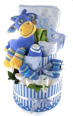 Striped Nappy Cake: Blue with storage boxes