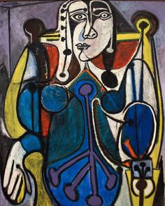 "dionyssos: ""Pablo Picasso Women in blue Year 1949 "" Pablo Picasso Drawings, Picasso Portraits, Picasso Art, Picasso Paintings, Paulo Picasso, Georges Braque, Synthetic Cubism, Cubist Movement, Art Visage"