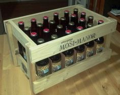 Wooden beer crate with cheap lumber.