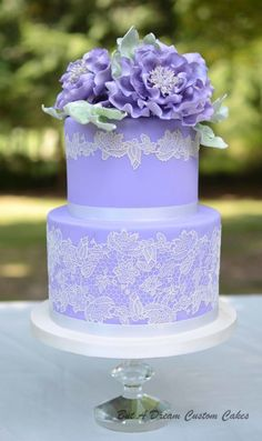 Purple peony wedding cake