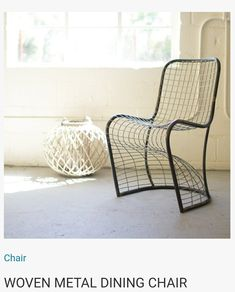 "Woven Metal Dining Chair Product Dimensions: 19.5"" x 22"" x 33""t seat height 18""t"