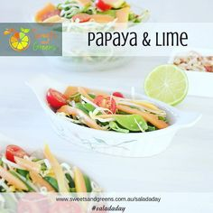 The weather may not be tropical where you are today but you can pretend with this Papaya and Lime salad - Day 28 of #saladaday Go to http://ift.tt/1BQ16UV for the full recipe plus 27 other salads