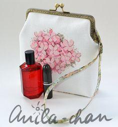 Hortensia Hydrangea cross stitched clutch, hand embroidered evening clutch, pink, green purse, wedding gift,