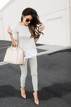 Fringe trimmed shirt + light gray jeans + nude pointed toe pumps