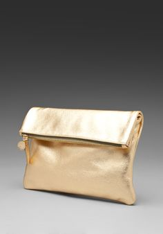 Clare Vivier Foldover Clutch in Gold Foil