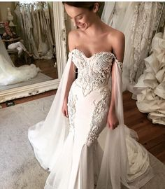 Leah De Gloria cape wedding dress