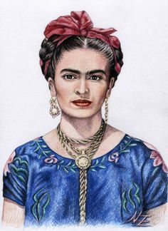 Nicole Zeug COLORED PENCIL Hommage to Frida Kahlo