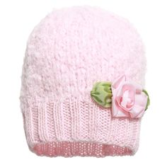 Grevi - Girls Pale Pink Mohair Knit Hat with Flower | Childrensalon