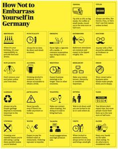 """""""How not to embarrass yourself in Germany"""" < Too simplistic but it's a start to learning about cultural differences"""
