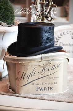 hat box label | Antique French Top Hat with Original Paris Label Hat Box from France