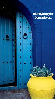 Blue door morocco entrance new Ideas Cultural Architecture, Unique Doors, Door Knockers, Blue Aesthetic, Blue Yellow, Lemon Yellow, Bright Yellow, Color Blue, Windows And Doors