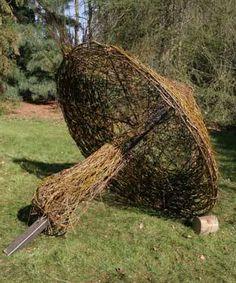 Use a striped unbrella Garden Crafts, Garden Projects, Garden Art, Garden Design, Mushroom Decor, Mushroom Art, Garden Show, Dream Garden, Land Art