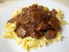 Rich, Tender Beef Tips - Just mix everything together, cover with foil, and bake in the oven. Easy!