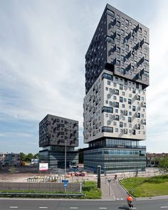 """Built by Dominique Perrault Architecture in Groningen, The Netherlands with date Images by Jim Ernst. """"La Liberté"""", social housing and office building, has been realized within a constant collaboration between the clien. Residential Architecture, Contemporary Architecture, Amazing Architecture, Art And Architecture, Architecture Details, Unique Buildings, Interesting Buildings, Amazing Buildings, Social Housing"""