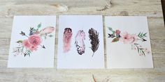 Girl Nursery Print Set Rustic Home Decor Home Decor by RosaLilla