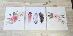 Girl Nursery Print Set Rustic Home Decor Home Decor by RosaLilla