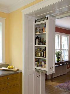 What?! Pocket door shelves? Brilliant.