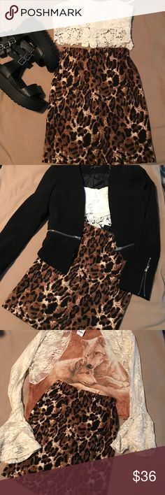LF Chandelier Leopard Print Bodycon Skirt BNWT Sm Love this super-versatile all seasons body-con mini by Chandelier at LF! Brand new with tags. Stretchy fabric, size small, dress up or dress down, looks hot either way. LF Skirts Mini