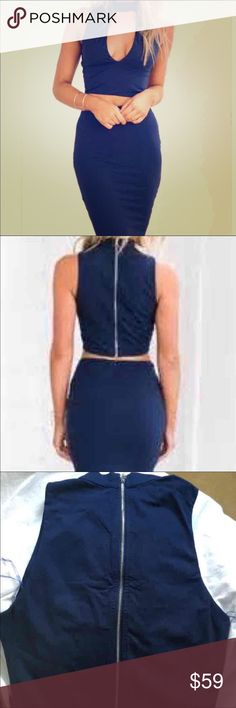 PRESIDENTS DAY SALE! NWT Love Navy Blue Midi Set S Sexy Love navy blue 2 piece set with halter with deep V sleeveless set with midi skirt. Absolutely gorgeous!!  It's marked as a S but fits somewhat between an XS and a S Love Dresses Midi