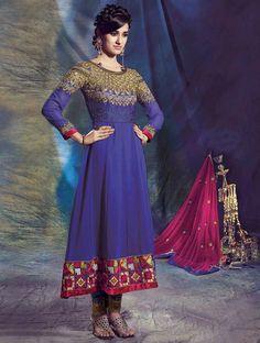 Beautiful Navy Blue Zari Embroidered Long Anarkali Salwar Suit