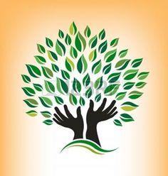 Logotipo da árvore a rezar — Vetores de Stock, Helping Hands Logo, Logo Arbol, Tree Drawing Simple, Tree Logos, Aspen Trees, Leaf Logo, Hand Logo, Tree Silhouette, Trendy Tree