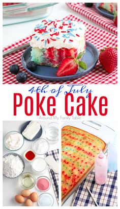 This festive 4th of July Poke Cake is perfect for a hot, summer day. The red & blue jello gives a traditional poke cake a patriotic twist. It's great for parties all summer long from Memorial Day to 4th of July to Labor Day. via @slingmama Easy No Bake Desserts, Delicious Desserts, Yummy Food, Fun Food, Traditional Easter Desserts, Brownies, Homemade Snickers, Cheesecake Desserts, Strawberry Desserts
