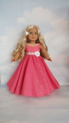 18 inch doll clothes - #279 Coral Sparkly Gown handmade to fit the American Girl Doll - FREE SHIPPING by susiestitchit on Etsy