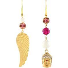 Golden Buddha long pink asymmetrical earrings. Oriental, asian, zen from myjewelbox on Ruby Lane