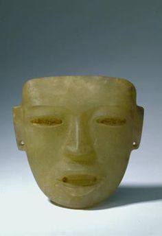 Mask, Central America, Mexico, Puebla/Guerrero. Teotihuacan III style. Early Classic period (AD 300-600). Pale green translucent onyx with traces of fresco. h 17.3 x w 18.5 x d 6.4 cm. Acquired 1976. Robert and Lisa Sainsbury Collection, UEA 651