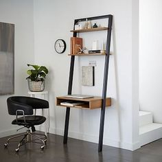 Ladder Shelf Desk #westelm    Possible desk for dining room other side of stairs